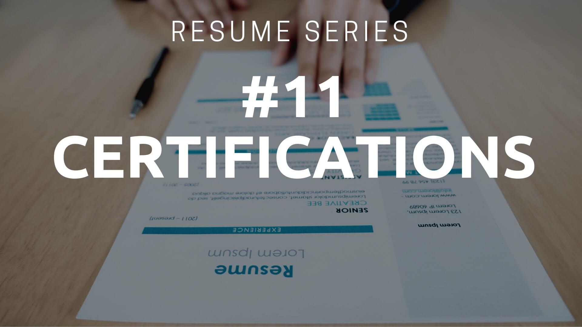 Resume Certifications